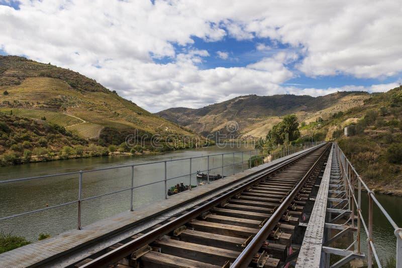 Treine trilhas ao longo do rio de Douro na região do vinho do vale de Douro em Portugal imagem de stock