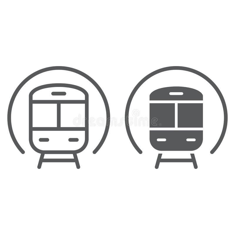 Treinlijn en glyph pictogram, spoorweg en reis, metroteken, vectorafbeeldingen, een lineair patroon op een witte achtergrond royalty-vrije illustratie