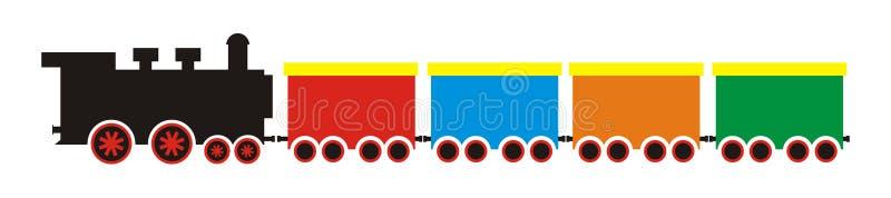 Treinreeks, stoomlocomotief en wagens, eps royalty-vrije illustratie