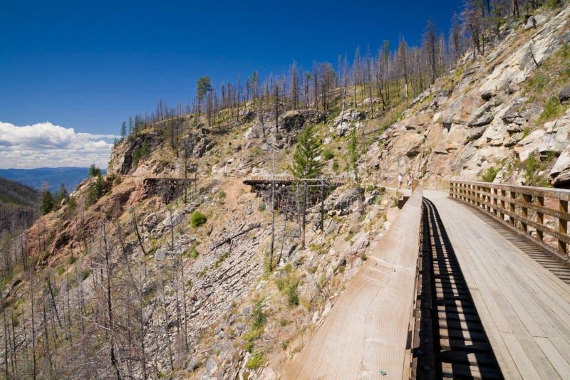 Treinschraag op de Spoorweg van de Ketelvallei dichtbij Britse Kelowna, stock foto