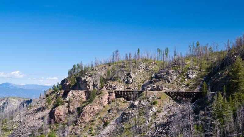 Treinschraag op de Spoorweg van de Ketelvallei dichtbij Kelowna, Canada stock foto's