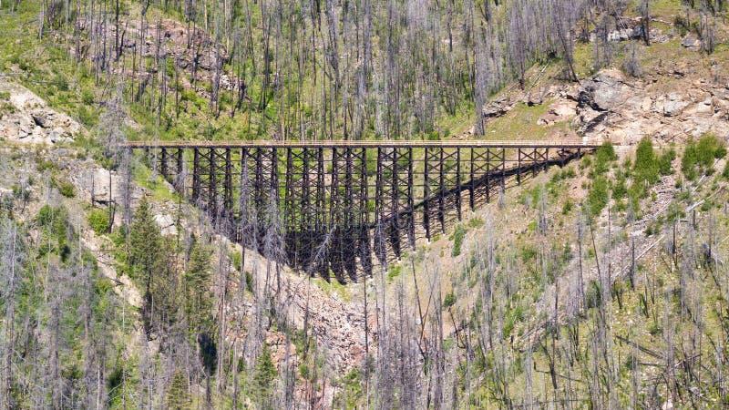 Treinschraag op de Spoorweg van de Ketelvallei dichtbij Kelowna, Canada royalty-vrije stock afbeelding