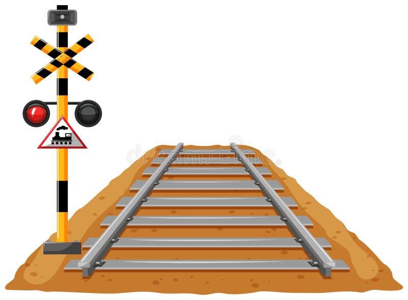 Treinspoor en lichte signaalpool vector illustratie