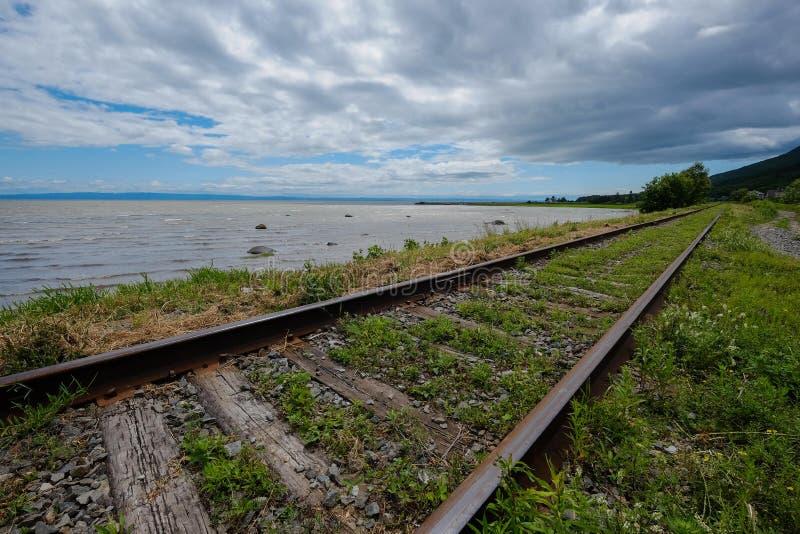 Treinsporen langs de rivier royalty-vrije stock fotografie