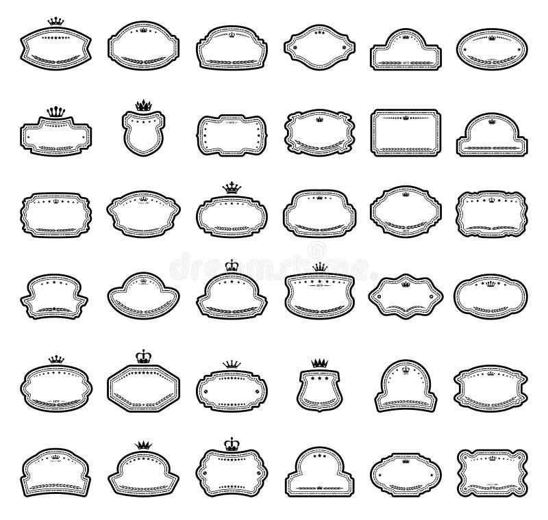 Treinta y seis etiquetas aisladas en blanco ilustración del vector