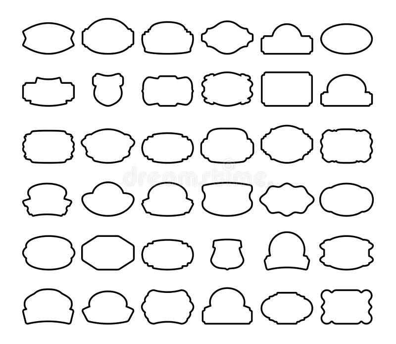 Treinta y seis etiquetas negras aisladas en blanco ilustración del vector