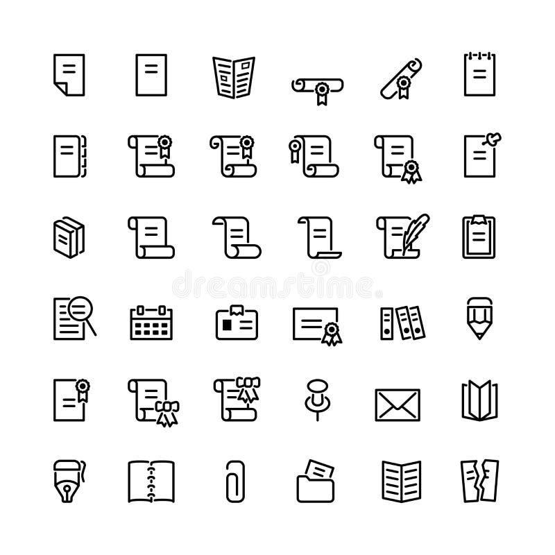 Treinta y seis iconos negros del ordenador del esquema stock de ilustración
