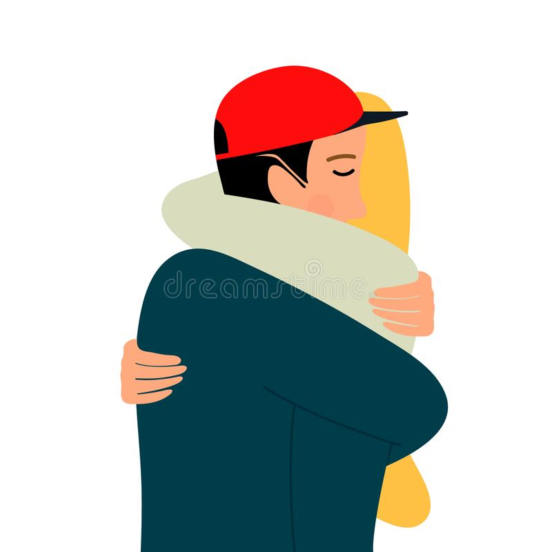 ?treintes d'un couple affectueux Étreintes de l'homme et des femmes Dirigez l'illustration sur le fond blanc dans le style de ban illustration libre de droits