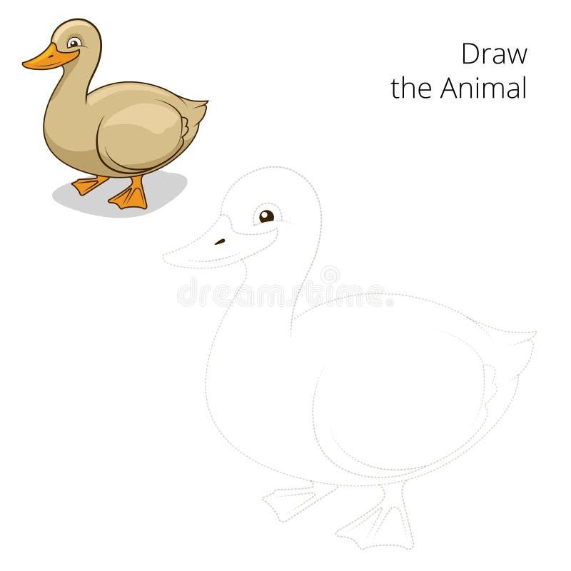 Trek de dierlijke vector van het eend onderwijsspel stock illustratie