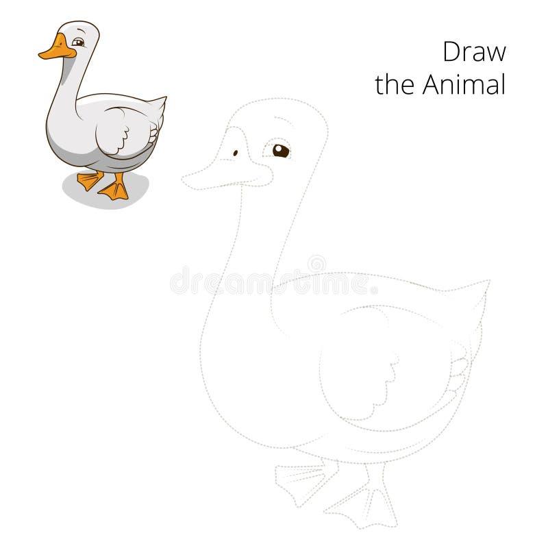 Trek de dierlijke vector van het gans onderwijsspel stock illustratie