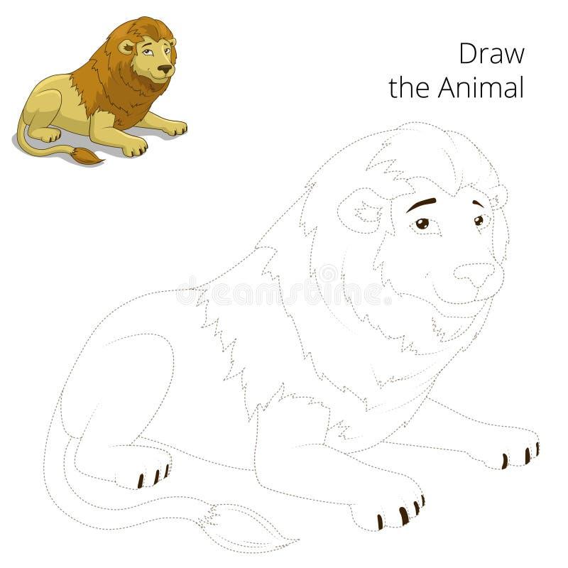 Trek de dierlijke vector van het leeuw onderwijsspel royalty-vrije illustratie