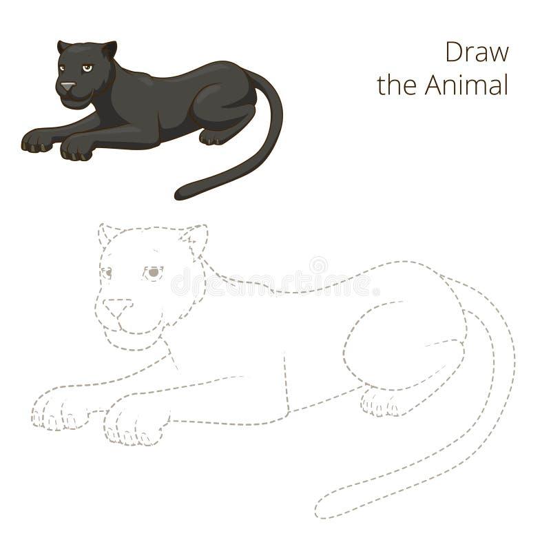 Trek de dierlijke vector van het panter onderwijsspel royalty-vrije illustratie