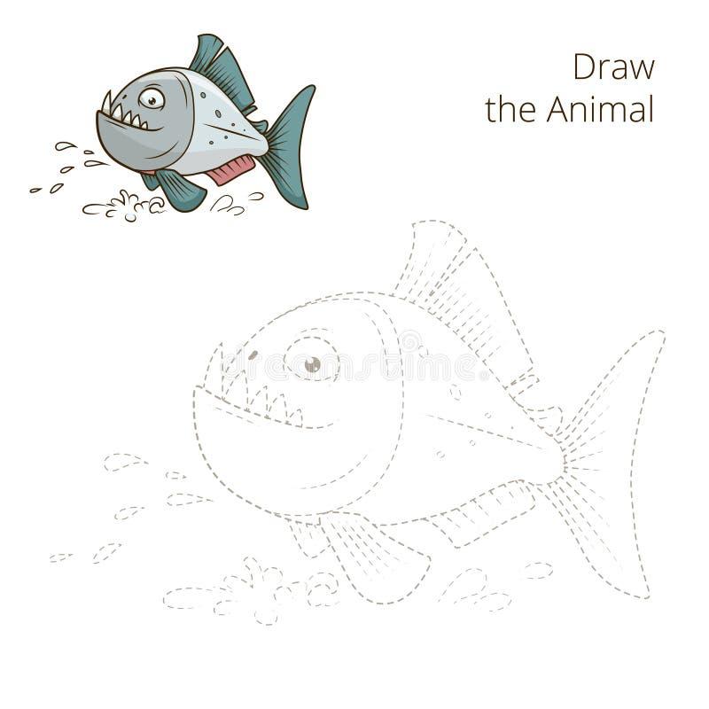 Trek de dierlijke vector van het piranha onderwijsspel vector illustratie