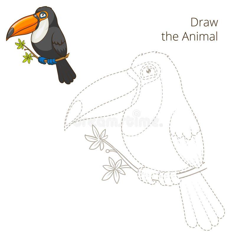 Trek de dierlijke vector van het toekan onderwijsspel stock illustratie