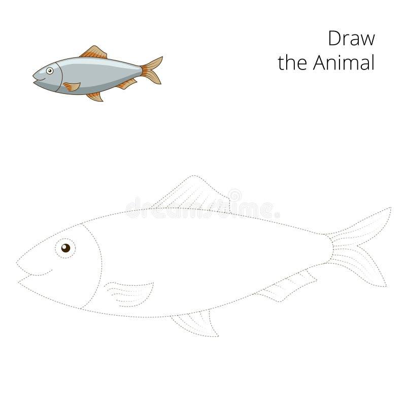 Trek de onderwijs het spelvector van haringenvissen stock illustratie