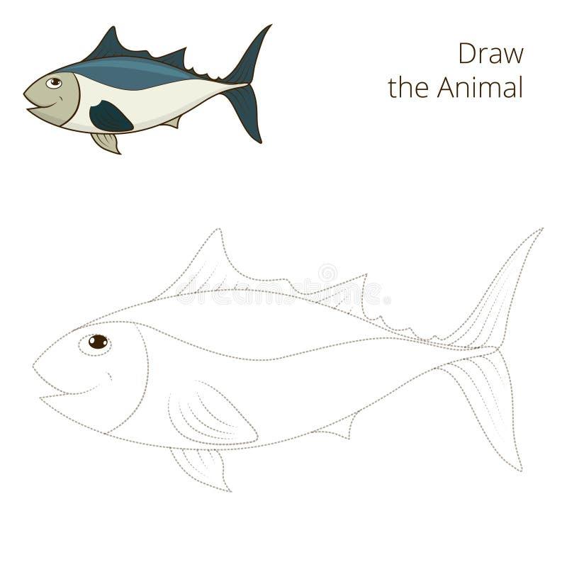 Trek de onderwijs het spelvector van vissentonijn royalty-vrije illustratie
