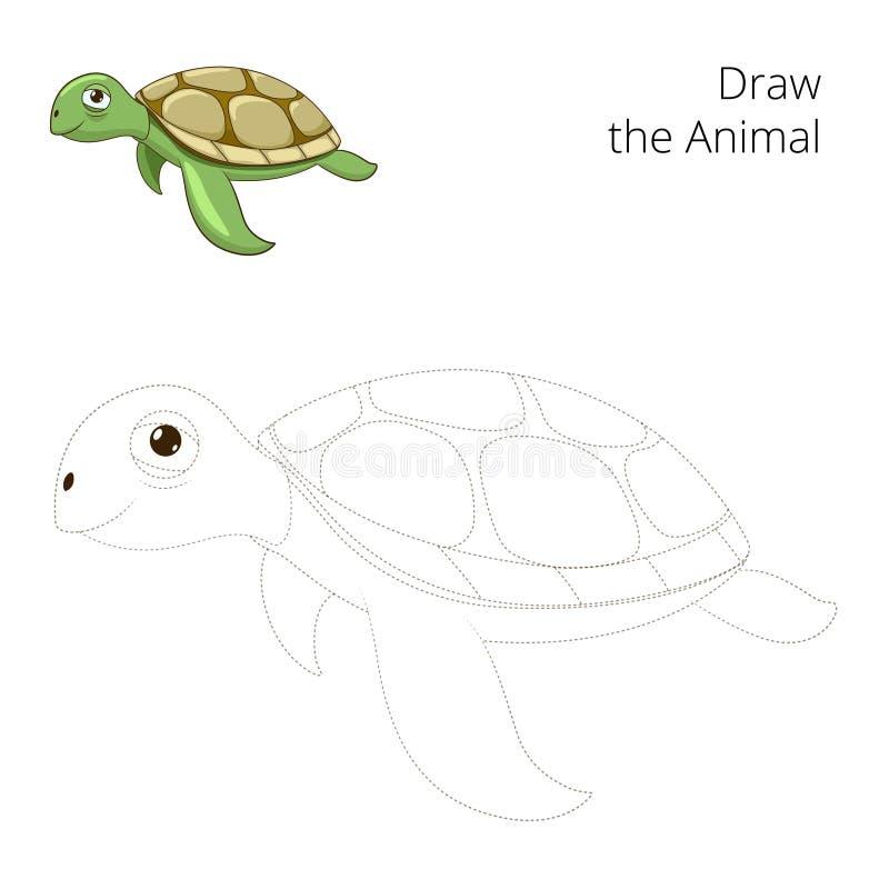 Trek de overzeese dierlijke schildpad onderwijs stock illustratie