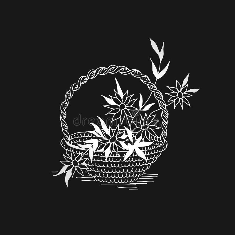 Trek de overzichtsmand met bloemen zwart-wit wit op zwarte vector illustratie