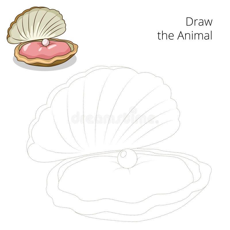 Trek de vector van het oester onderwijsspel vector illustratie