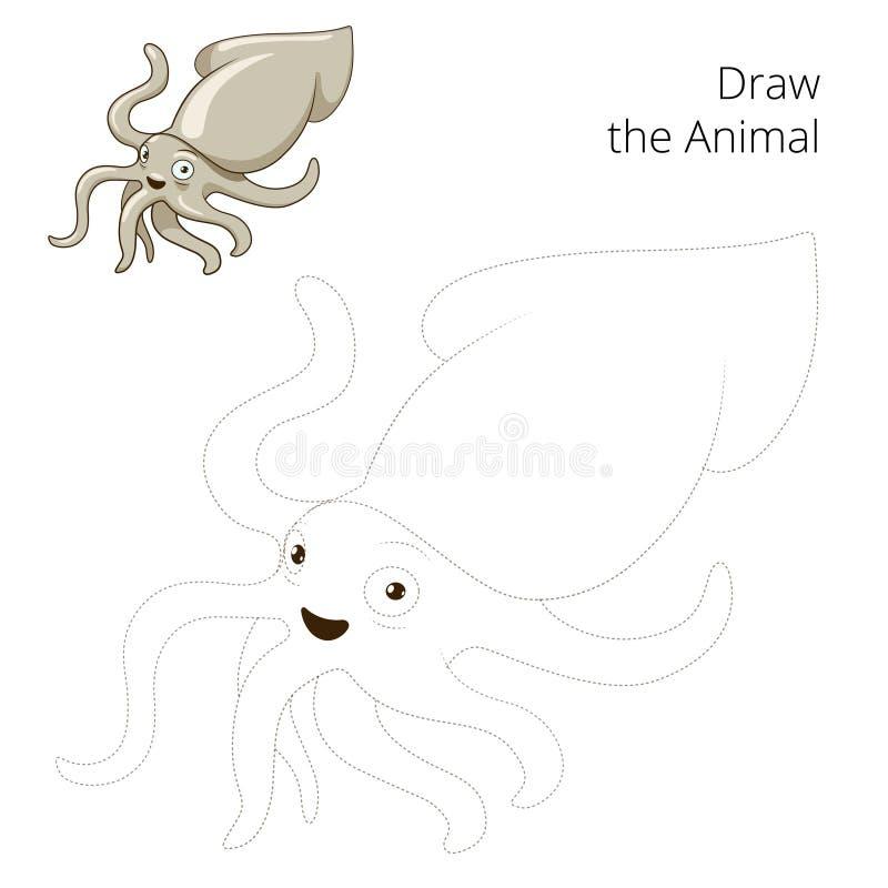 Trek de vector van het pijlinktvis onderwijsspel stock illustratie