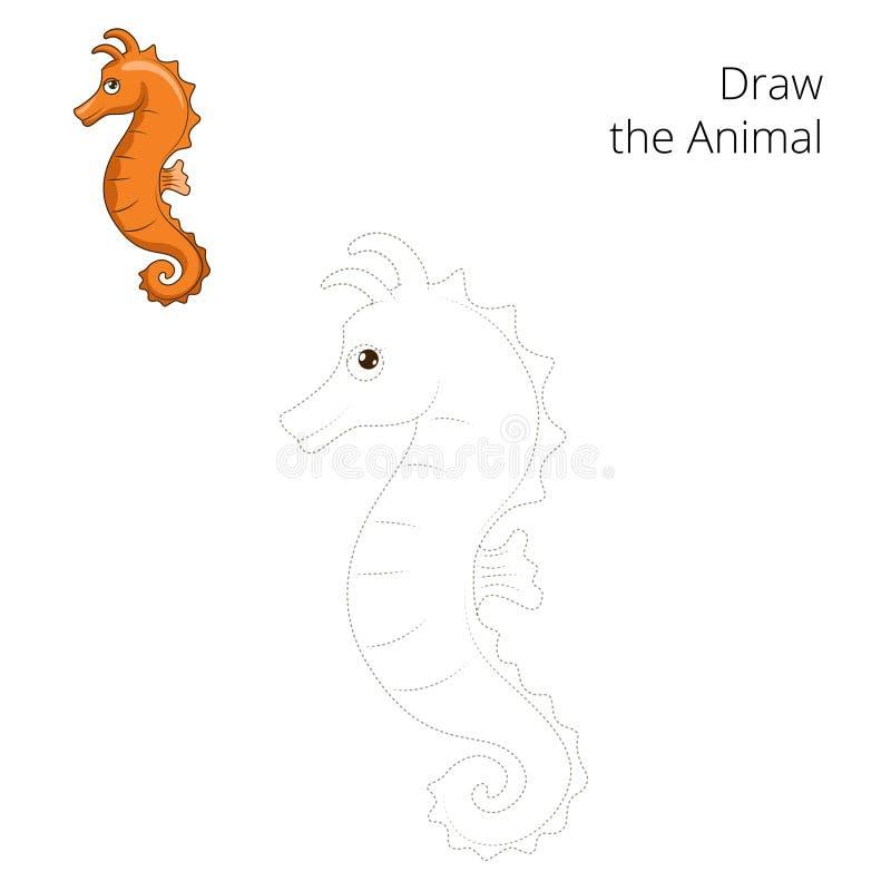 Trek de vector van het zeepaardje onderwijsspel stock illustratie