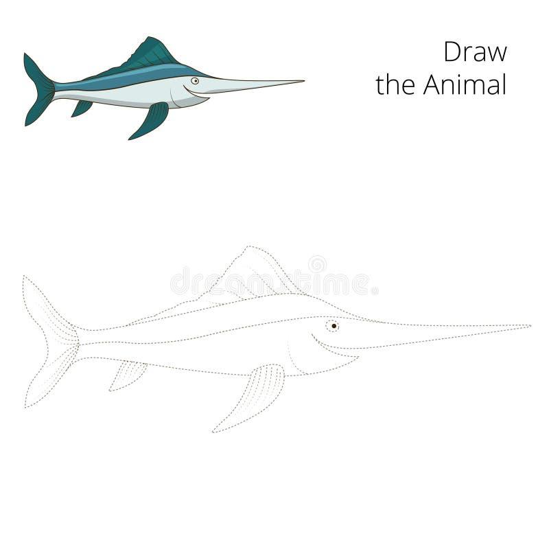 Trek de vector van het zwaardvissen onderwijsspel vector illustratie