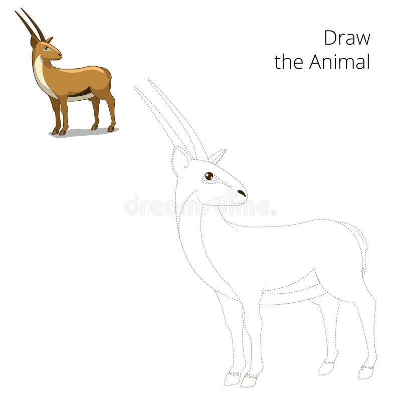 Trek dierlijk gazelle onderwijsspel vector illustratie