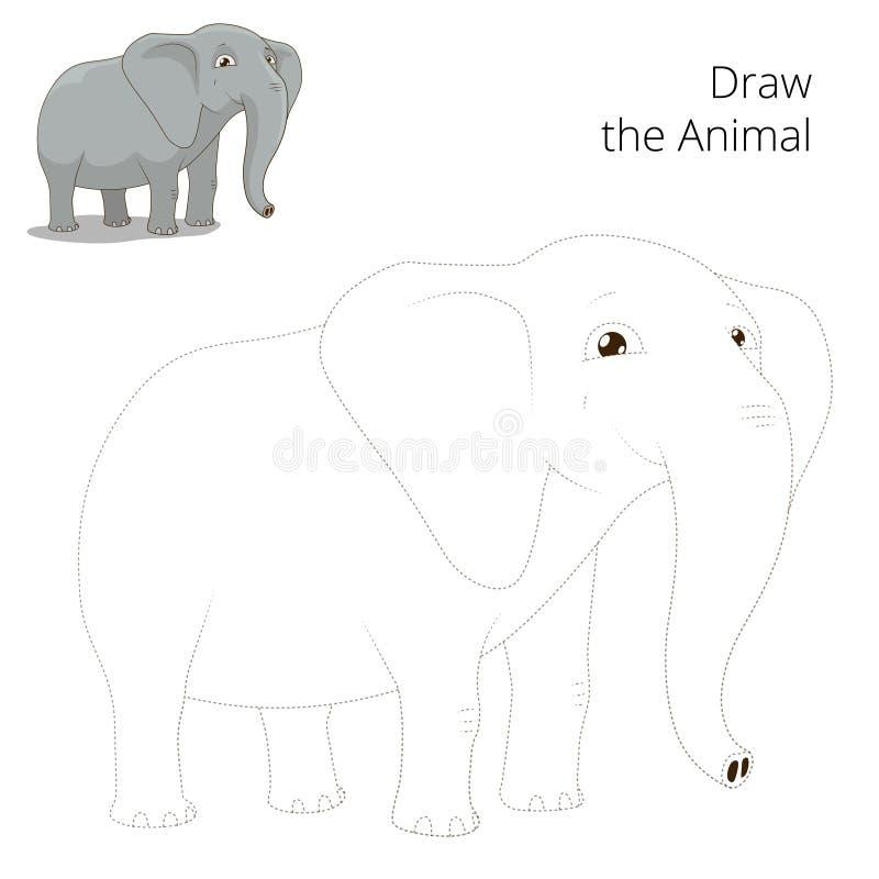 Trek dierlijk olifants onderwijsspel stock illustratie