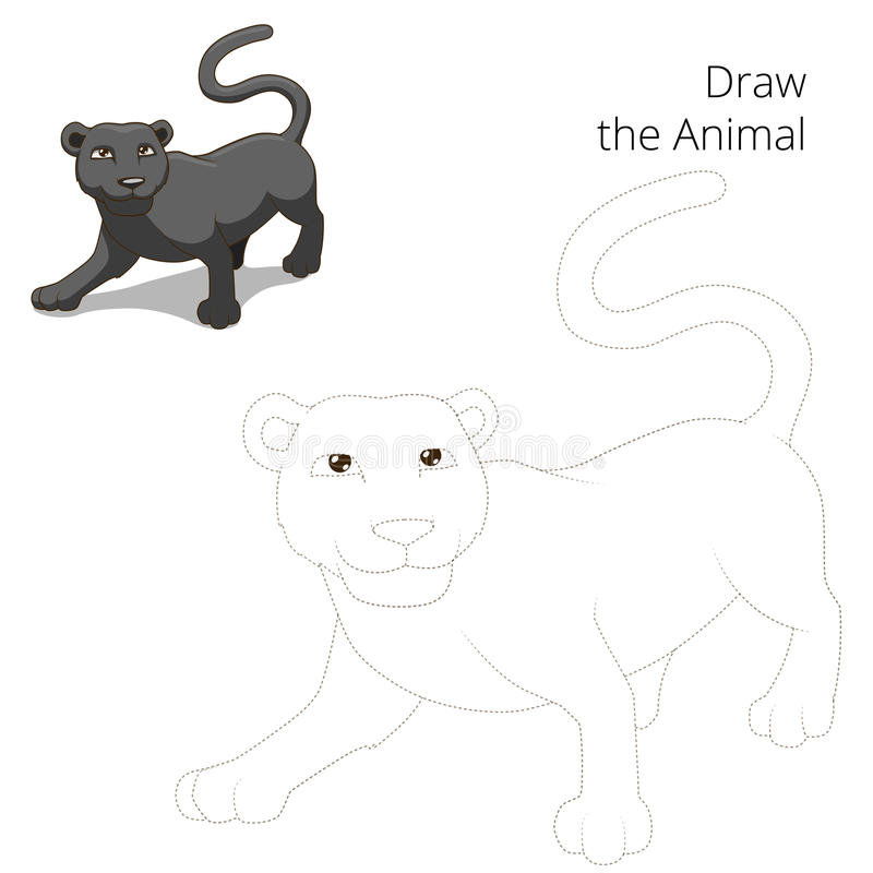 Trek dierlijk panter onderwijsspel royalty-vrije illustratie