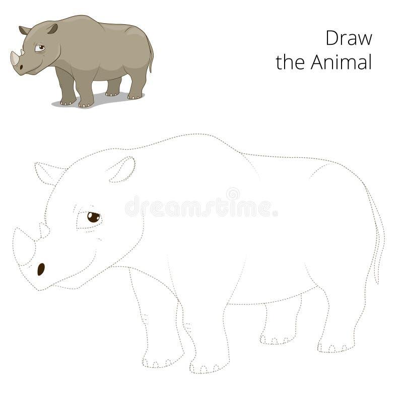 Trek dierlijk rinoceros onderwijsspel vector illustratie