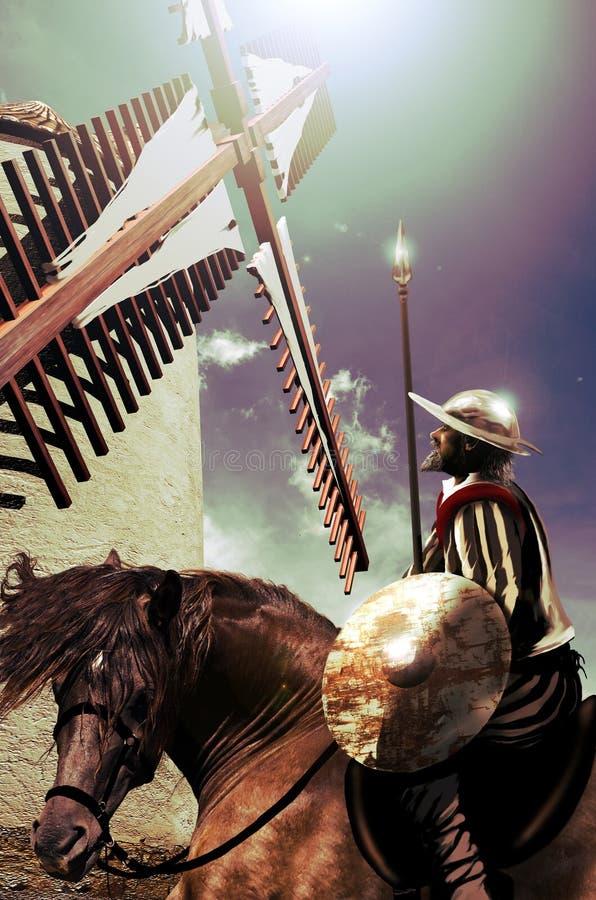 Trek Don Quichot aan royalty-vrije illustratie