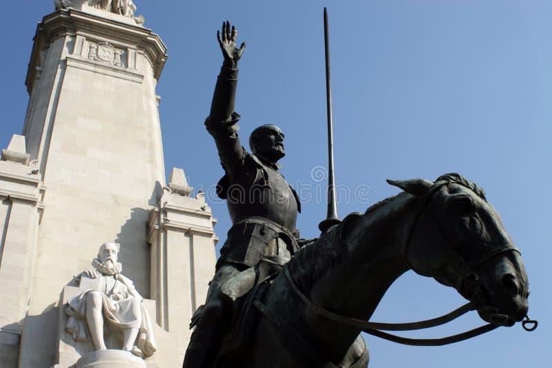 Trek Don Quichot en Cervantes aan royalty-vrije stock afbeelding