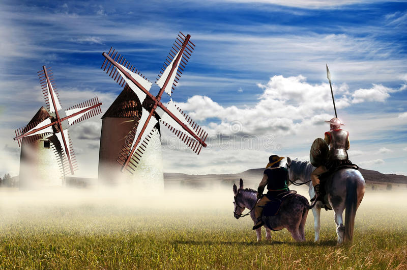 Trek Don Quichot en Sancho Panza aan stock illustratie
