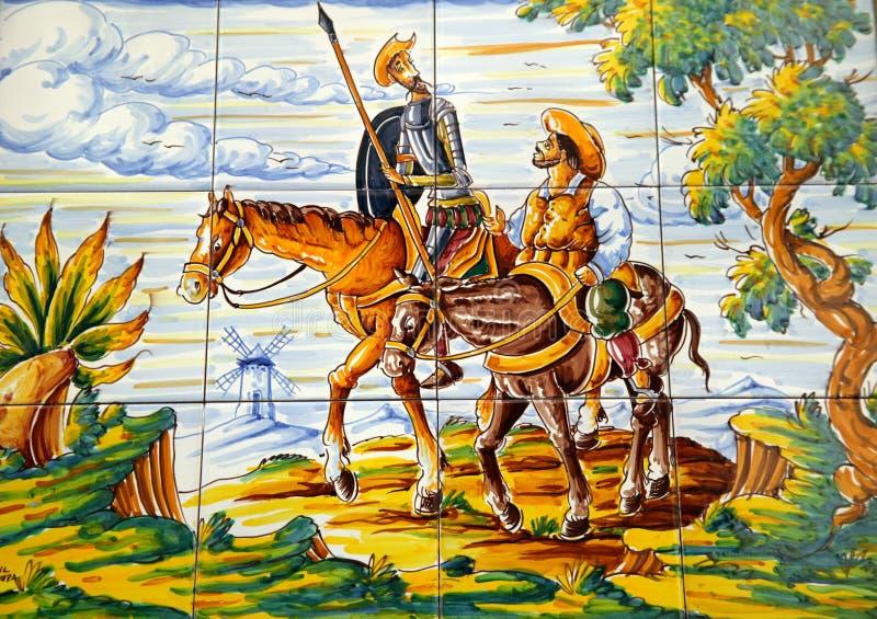 Trek Don Quichot Sancha Panza enroute aan royalty-vrije stock foto