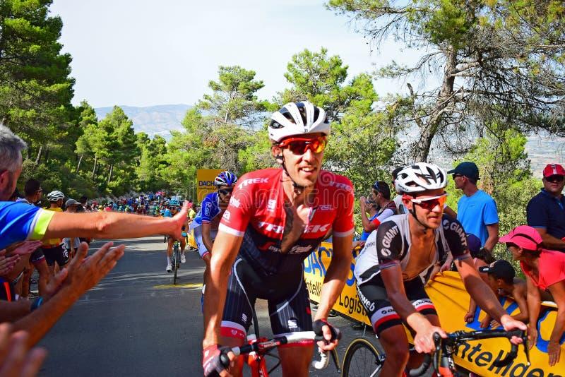 Trek en Reuze de Cyclusras van Alpecine Team Riders La Vuelta España royalty-vrije stock fotografie