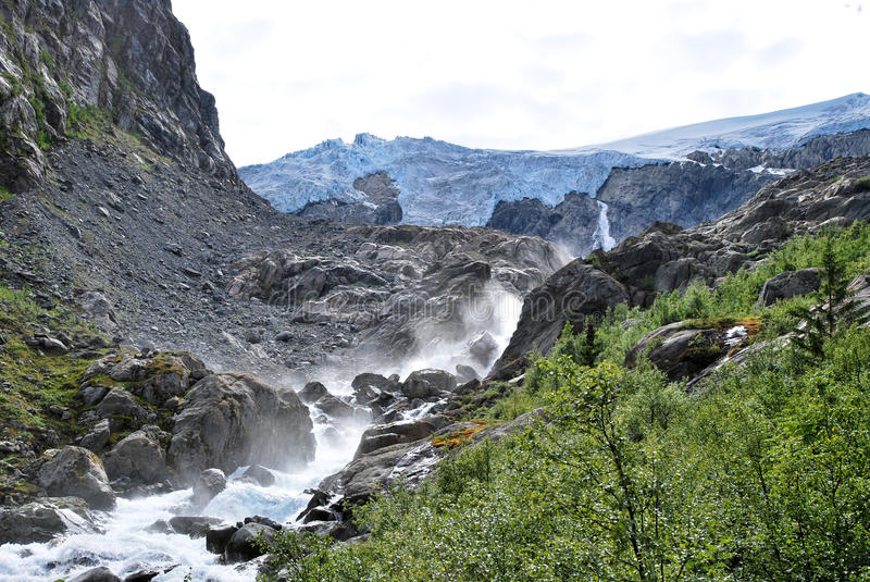 A trek in Folgefonna in Norway stock image