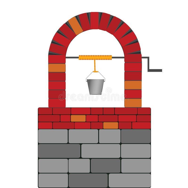 Trek goed met rode baksteen vectorillustratie vector illustratie
