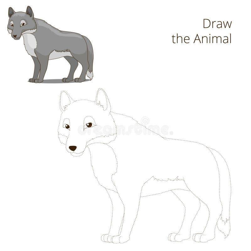 Trek het bos dierlijke wolfsbeeldverhaal stock illustratie