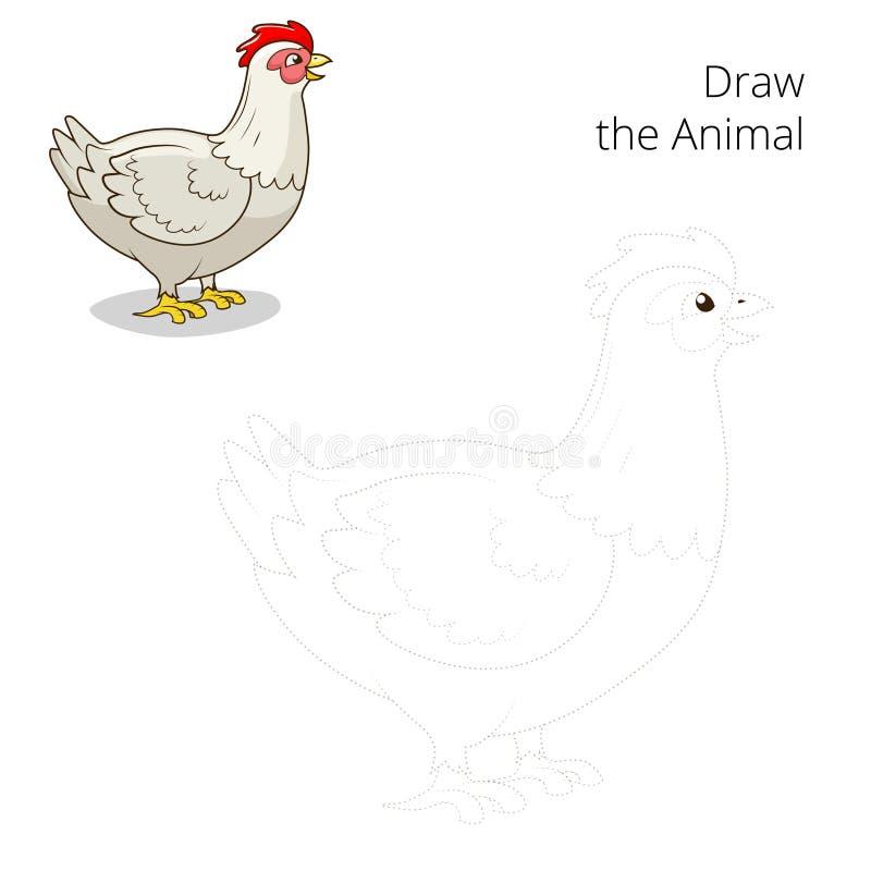 Trek het dierlijke onderwijsspel van de kippenkip royalty-vrije illustratie