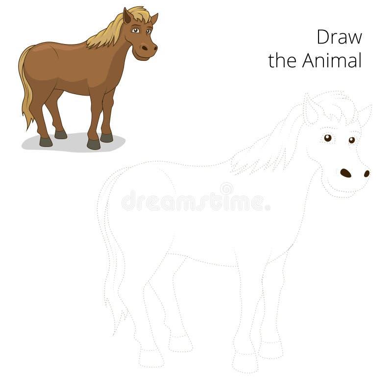 Trek het dierlijke paard onderwijsspel vector illustratie