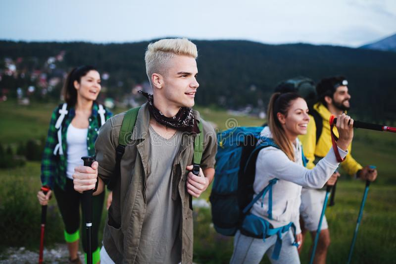 Trek Hiking Destination Experience Backpack Lifestyle Concept. Trek Hiking Group Destination Experience Backpack Lifestyle Concept stock images