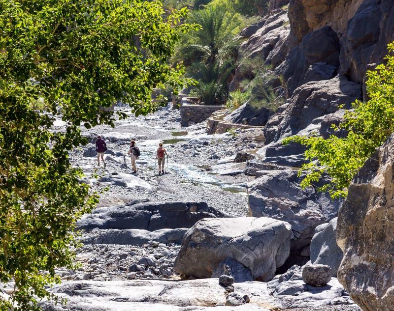 Trek i den Nakhr wadin - Oman arkivbild