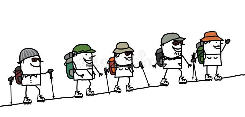 Trek in the mountain vector illustration