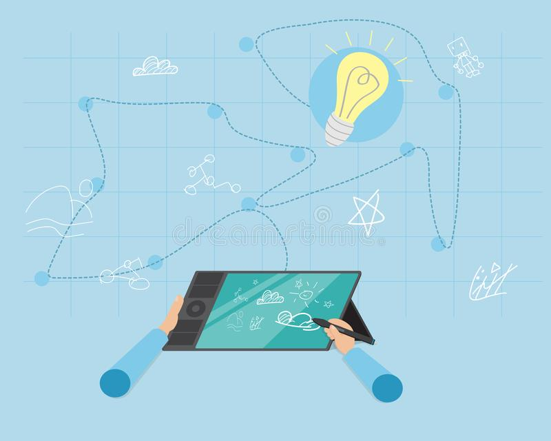 Trek om Ideeën tot stand te brengen vector illustratie