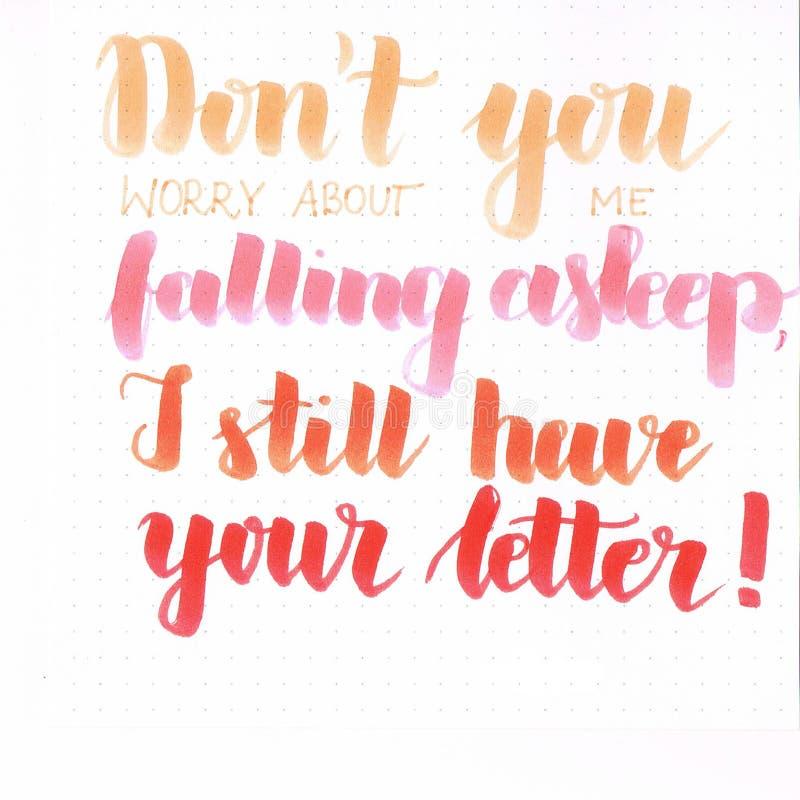 ` Trek ` t u zich aan ongerust over me maakt die in slaap vallen, heb ik nog uw brief! ` hand het van letters voorzien inschrijvi vector illustratie