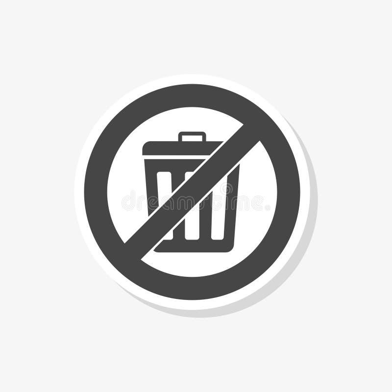 Trek ` t werpen aan afval, de Kringloopsticker van het bakteken, eenvoudig vectorpictogram royalty-vrije illustratie