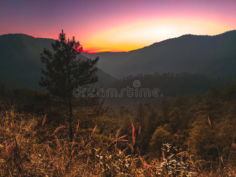 Trek to the top of the hill royalty free stock photography