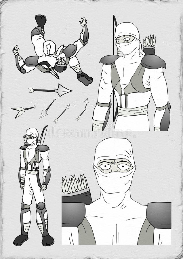 Trek van witte ninja royalty-vrije illustratie