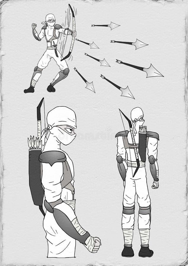 Trek van witte ninja stock illustratie