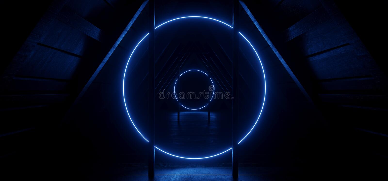 Trekantiga hörnskorridorer Neon Circle Shaped Light Blue on Wood Texture Dark Night Stage Show Sci Fi Futuristic Wood 3D royaltyfri illustrationer
